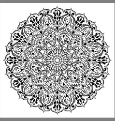 Ornament circular mandala black white ornamental vector