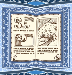 Ornamented magic book with the spell of snow vector