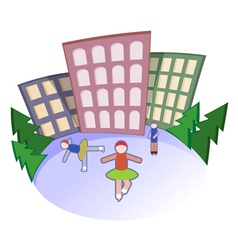 People go for skating vector image