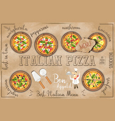 Pizza menu in kraft style vector