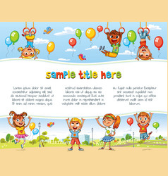 playground happy children holding blank poster vector image