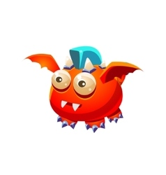 Red Fantastic Friendly Pet Dragon With Blue Mohawk vector image
