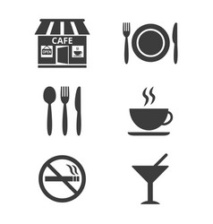 restaurant and cafe icons set on white background vector image