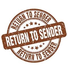 Return to sender brown grunge round vintage rubber vector