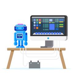 robot programming flat engineering vector image