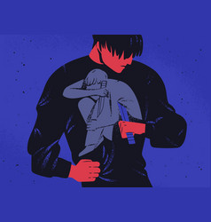 Sad man and his inner personality holding knife vector