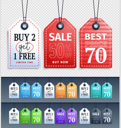 sale tags design collection hanging with vector image