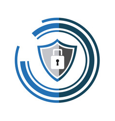 security technology padlock shield internet shadow vector image