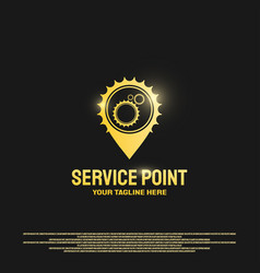 Service point logo design with gears concept vector