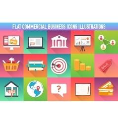 set flat business commerce icons modern design vector image