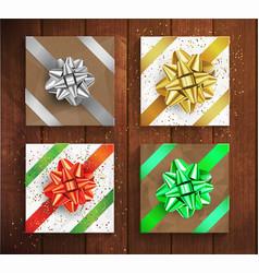 set gift boxes - christmas and birthday giftbox vector image