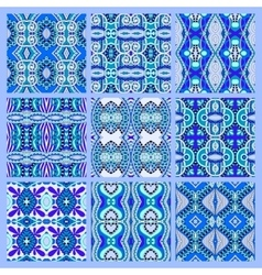 Set of blue seamless colored vintage geometric vector