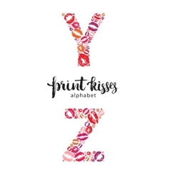 Set of letters Y and Z made from print kisses vector