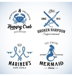 Set of Vintage Nautical Sea Labels with Retro vector