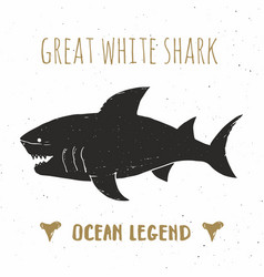 shark silhouette vintage label hand drawn sketch vector image