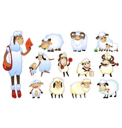 sheep icons set cartoon style vector image
