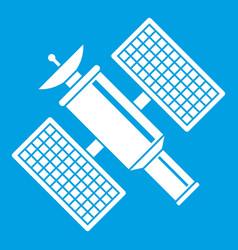 Space satellite icon white vector