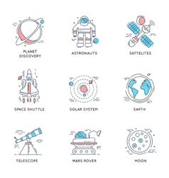 Space Universe Linear Icons vector image