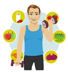 Sporty man with dumbbells vector