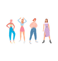 student girls in everyday gowns set fashion vector image