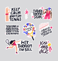 Tennis quotes hand drawn letterings set vector