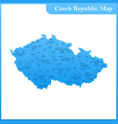 The detailed map of the czech republic with vector