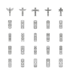 Totem icons set outline style vector