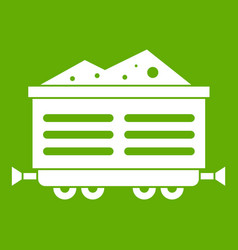 Train waggon with coal icon green vector
