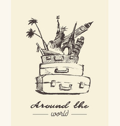Traveling around world concept drawn vector