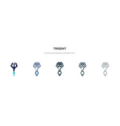 Trident icon in different style two colored and vector