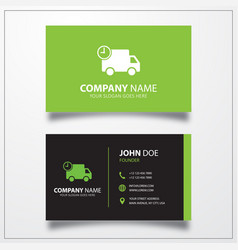 Truck with time fast delivery icon business card vector