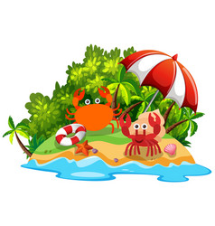 Two crabs on the island vector