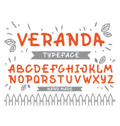 veranda cursive font alphabet with latin vector image