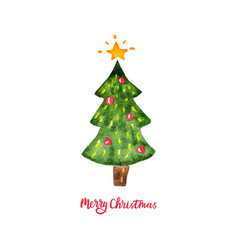 Watercolor christmas tree merry christmas and vector