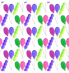 Watercolor seamless pattern with air baloons on vector image