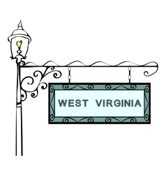 West Virginia retro pointer lamppost vector