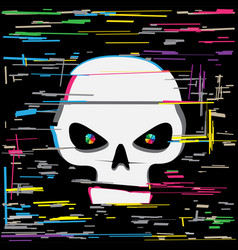 white glitch hacker skull vector image