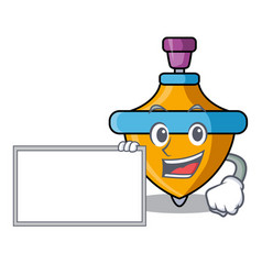 With board spinning top character cartoon vector