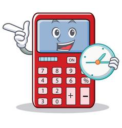 With clock cute calculator character cartoon vector