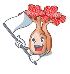 With flag bottle shaped tree on a cartoon vector