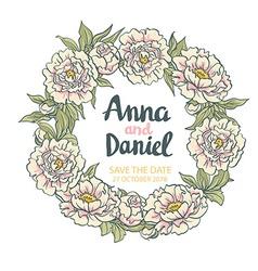 Wreath of peonies Hand drawn artwork Wedding card vector image