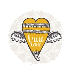Boho style background heart with wings true love vector