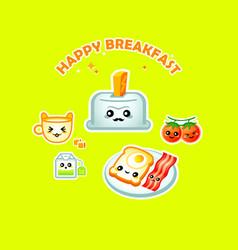 happy breakfast vector image vector image