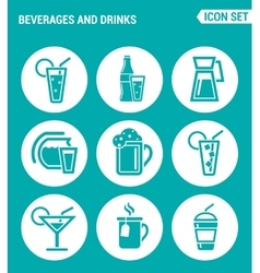 set of round icons white Beverages and drinks vector image