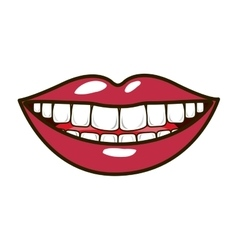 silhouette smiling lips with teeths and tongue vector image vector image
