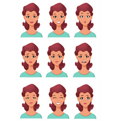 Face expressions of a woman different female vector