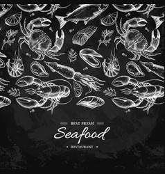 seafood hand drawn crab vector image vector image