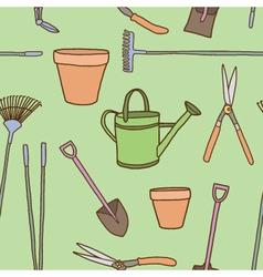 Seamless of Garden tools vector image vector image