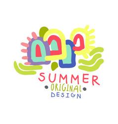 summer colorful logo template original design vector image