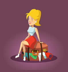 beautiful woman sitting on overflowed suitcase vector image